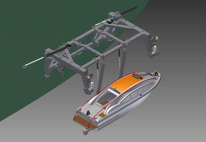 Multipurpose Davit for PGS Ramform in open position