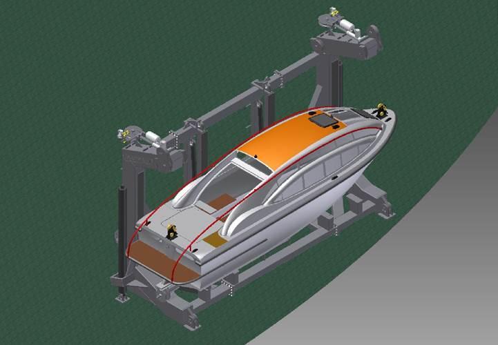 Vestdavit multipurpose davit for PGS Ramform stowed
