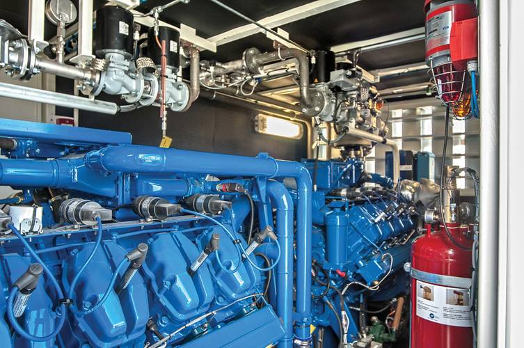 View in one of the Peters LNG-Packs with two Scania-Sandfirden gas engines.