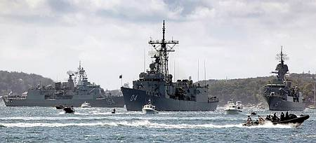 HMA Ship's Parramatta, Perth and Darwin pass by Bradleys Head within Sydney Harbour during the recreation of the original 1913 fleet entry for the International Fleet Review. (Photo: POIS Rick Prideaux)