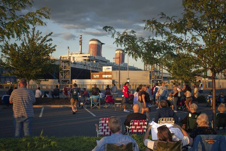 """The SS United States at sunset, during the SS United States Conservancy's """"National Flagship Celebration"""", July 1, 2010. (Credit: SS United States Conservancy)"""