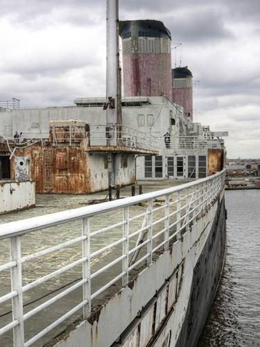 The SS United States' mighty funnels as seen from her after decks. (Credit: SS United States Conservancy)