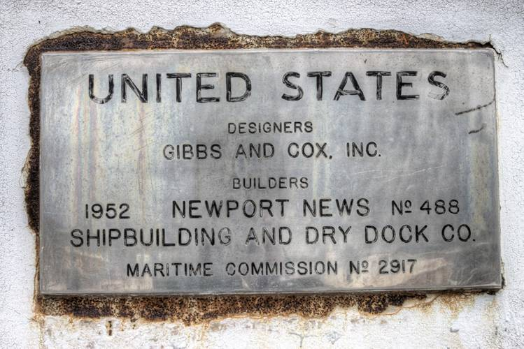 The SS United States' builder's plate. (Credit: SS United States Conservancy)