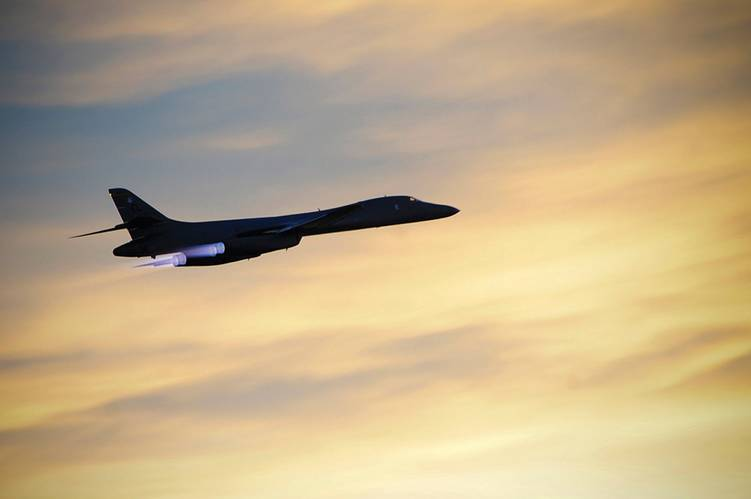 Pictured is a B-1B Lancer on a training mission. The US Air Force recently conducted a successful test of its ability to neutralize and eliminate the threat of small boats in acts of terror. During that testing period, a B-1B Lancer supersonic variable-sweep-wing bomber launched a GBU-10 laser-guided bomb to take out a remotely-controlled mobile surface vehicle.  The GBU-10 has a published accuracy of 3.6 feet, making it a good weapon against a small target like a boat. Although its 945 pound wa