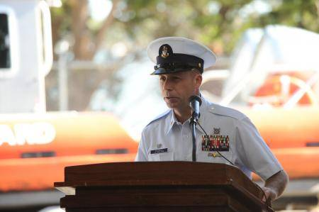 Senior Chief Petty Officer Ronald McCready, officer in charge of Coast Guard Station Tybee Island, Ga., speaks during a ceremony recognizing the arrival of a new Response Boat-Medium at the unit. (U.S. Coast Guard photo by Petty Officer 3rd Class Anthony L. Soto)