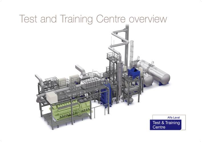 The 250 m2 testing area at the Alfa Laval Test & Training Center comprises an extensive range of equipment organized into integrated process lines.
