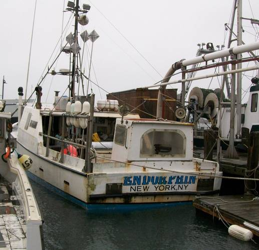 Endorphin moored to a pier in Point Judith, R.I. (USCG photo. Feb. 2013)