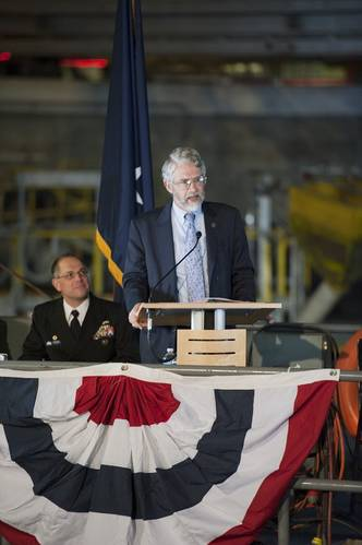 Keynote speaker, Dr. John Holdren, Assistant to the President for Science and Technology, Director of the White House Office of Science and Technology Policy, and Co-Chair of the PCAST deliver keynote remarks at the opening of the MASK basin facility at NSWC, Carderock Division.