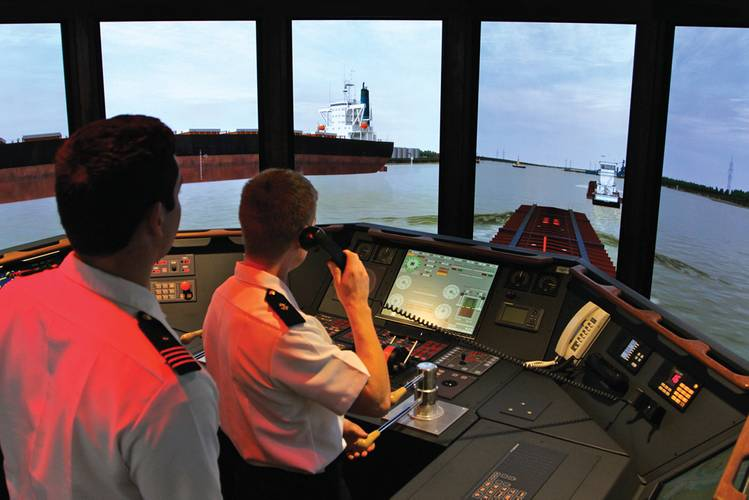 The cutting edge Transas produced Tug Simulator in action at Mass. Maritime Academy.