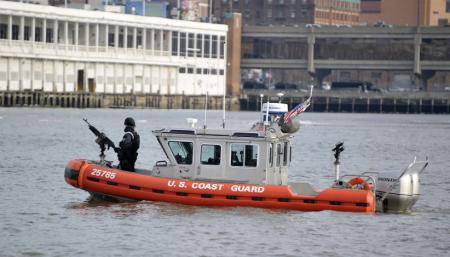 A Coast Guard maritime safety and security team patrols the Hudson River. U.S. Coast Guard photo by Petty Officer 3rd Class Michael Himes.