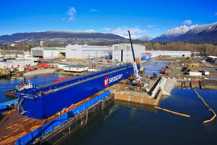 The main girder of 300-metric-ton crane arriving at Vancouver Shipyards today