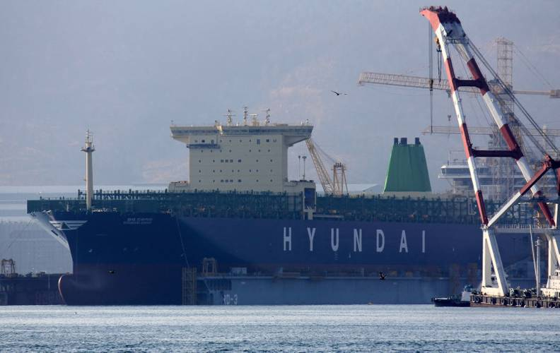 Hyundai Drive under construction at Daewoo Shipyard in Okpo, Korea. The second vessel in a series of four, she will be delivered in May 2014