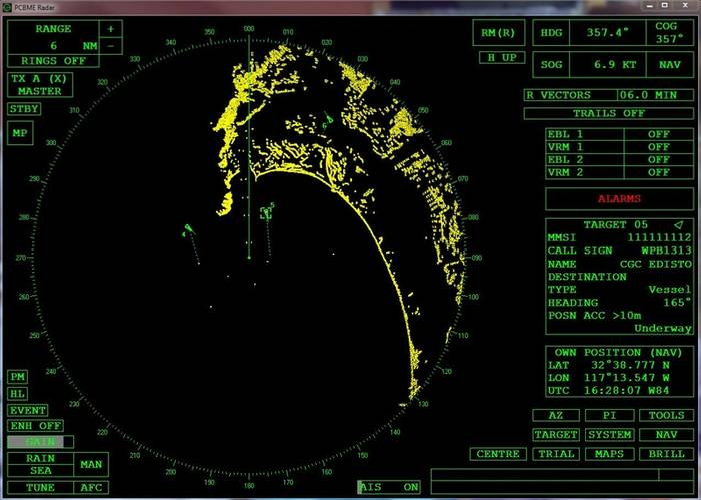 screen shot of the radar software