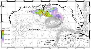 """Dr. Jason Jolliff's hindcasts, following the Deepwater Horizon blowout, show the Gulf's Loop Current pinched itself off in a closed eddy. The natural weathering of oil, as he modeled with a decay constant, also explains why Florida beaches weren't harmed. """"When we look at oceanographic problems, we have to understand the scales of time and space we're dealing with,"""" he says. (Image: Jason Joliff; labels superimposed)"""