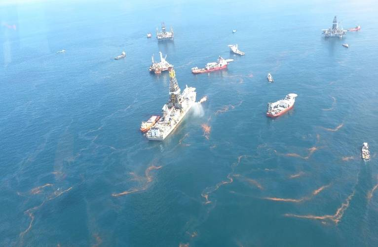 Oil near the Deepwater Horizon disaster spill source as seen during an aerial overflight on May 20, 2010. (Credit: NOAA)