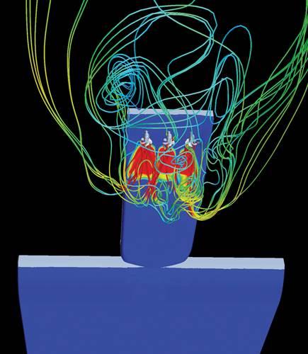 CFD image of crash stop simulation
