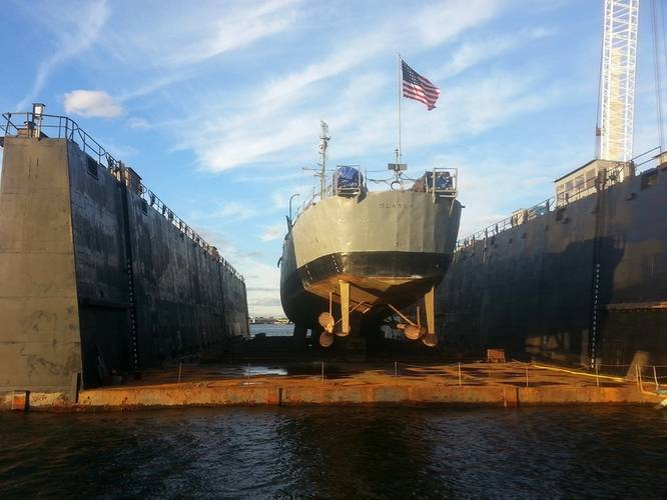 USS Slater in drydock (Photo courtesy Destroyer Escort Historical Museum)