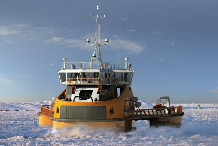 """Aker Arctic is working with Finnish naval architects Mobimar on a trimaran icebreaker, which is actually a single hull ship with two side hulls.  """"It creates a channel twice as wide without increasing the power requirement,"""" Niini said. © Aker Arctic Technology Inc."""