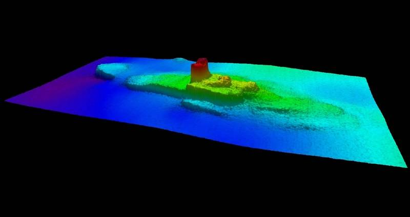 2013 Multi-beam sonar profile view of the shipwreck SS City of Chester (Credit: NOAA Office of Coast Survey NRT6)