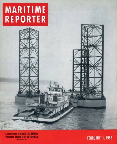"""The formal birth of the offshore industry is generally said to be the Kermac 16, universally recognized as the first """"out-of-sight-of land"""" well, built 10 miles offshore by Brown & Root for Kerr-McGee, Phillips Petroleum and Stanolind Oil & Gas, in 1947.   As the hunt for energy offshore continued to flourish  and grow, Maritime Reporter was there too, covering  LeTourneau's $2m """"Portable Island""""  in the February 1, 1956 edition."""