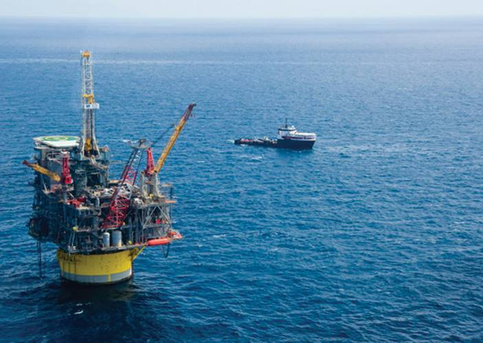 Shell Perdido in the Gulf of Mexico in 2010. Perdido, an oil and gas spar production facility, is the world's deepest oil development and the deepest drilling and production platform and will produce from the deepest subsea well.