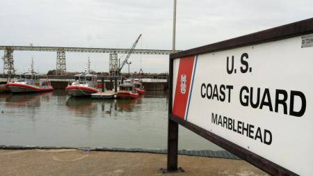 A new 45-foot response boat (far left) is moored at Coast Guard Station Marblehead, Ohio. (U.S. Coast Guard photo by Phillip Null)