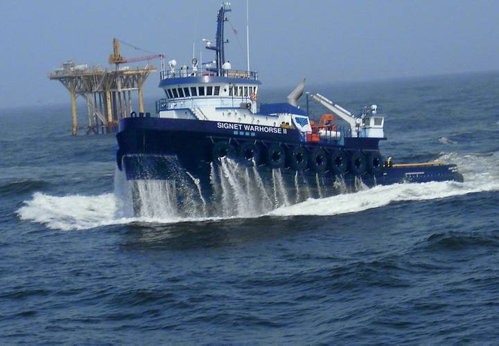 The Signet Warhorse II, is the most powerful ABS classed ocean towing vessel in Signet Maritime's Offshore Towing Division. At 153.58 metric tons bollard pull, the Signet Warhorse II will lead the fleet providing ocean towing of rigs, spars and other vessels. (Photo: Signet)
