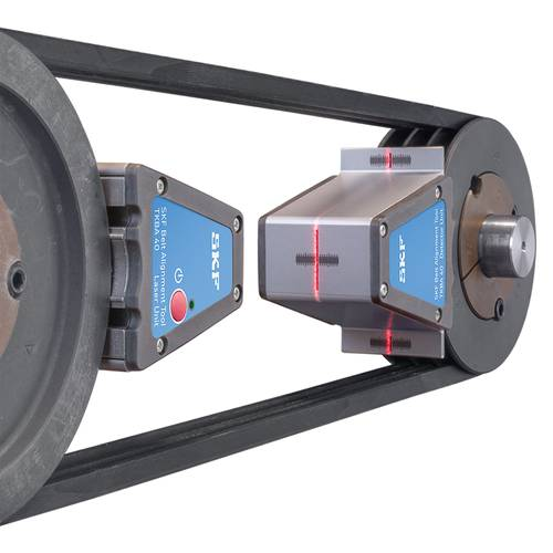 Laser-equipped belt alignment tools accurately align belt-driven machines, including pulleys of different widths. Photo: SKF USA Inc.