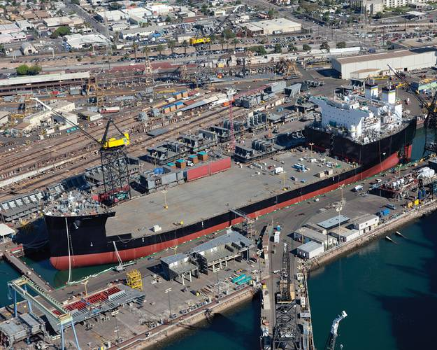 The Military Sealift Command mobile landing platform ship USNS Montford Point (T-MLP 1) is floated out of General Dynamics NASSCO shipyard.  (U.S. Navy photo courtesy of General Dynamics NASSCO/Released)