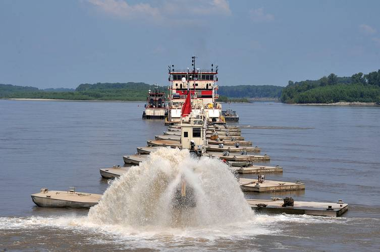 USACE Dredge Hurley In operation on the Mississippi River.