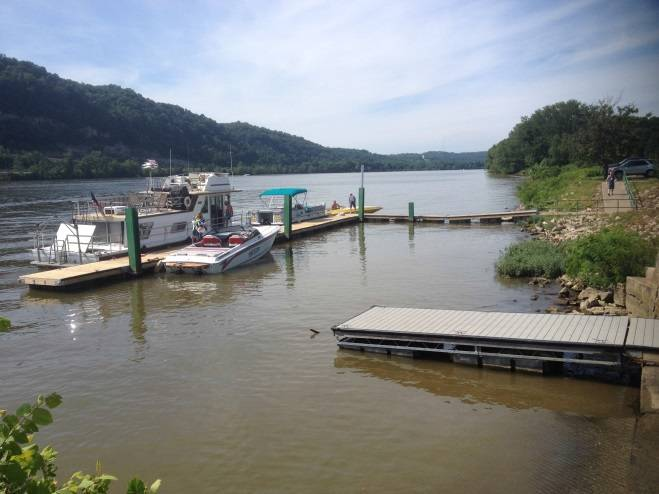 The gray section of dock shown in the lower right hand corner was donated to the city of Wellsburg a few years ago to provide boaters utilizing the launch ramp easier access to launching their watercraft without having to walk all the way over to the city dock. (Photo courtesy of Merco Marine)