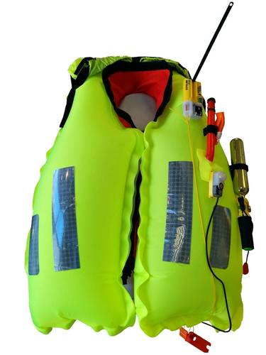 The inflated K2 275N twin chamber lifejacket with AQ40L light and Kannad R10 SRS.