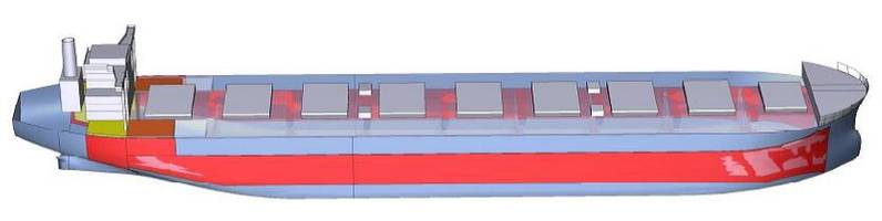 Portions in red and yellow are built with NSafe-Hull highly ductile steel