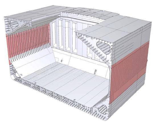 NSafe-Hull sections in red