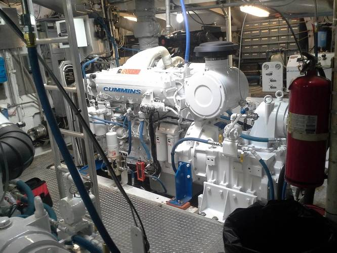 New Cummins engine inside the Norman O (Photo courtesy of Olson Marine)