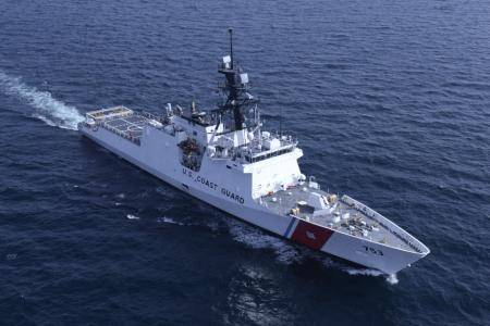 U.S. Coast Cutter Hamilton performs sea trials in the Gulf of Mexico Aug. 13, 2014. (U.S. Coast Guard photo by Carlos Vega)
