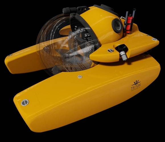 Yacht owners who have expressed interest in a submersible have been unable to integrate one aboard their vessel due to tender garage height and weight restrictions. The Triton 1000/3 LP has a modest height of 5.5 feet (1.7 meters) and a crane weight of 7,650 pounds (3475 kilograms) making it a viable option for most large yachts and a potential game changer in the industry. (Image: Triton Submarines)