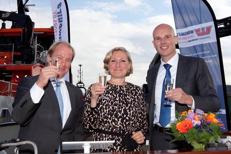 Jan Dirk Hudig, Managing Director Offshore Wind Services; Ellen Cornelise Nieuwenhuis, wife of Pieter Tavenier, ENECO, who performed the naming ceremony; and Jelle Meindertsma, Regional Sales Manager Benelux, Damen Shipyards Group (Photo: Damen)