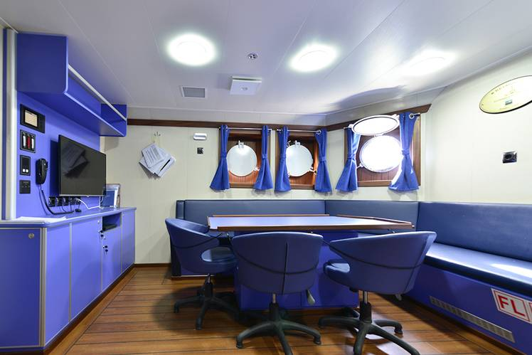 The galley is stainless steel throughout and the mess room is both roomy and attractive in decor. (Photo: Sanmar)