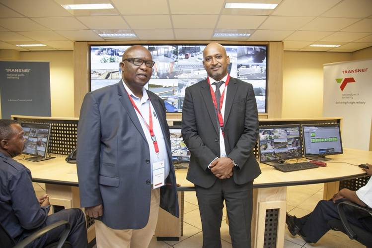 Phumuzi Sigasa, head of TNPA's Port Security Portfolio (left) and Richard Vallihu, Chief Executive of TNPA, inside the newly renovated control room located at the Port of Durban which went live with TNPA's new R843 million port security system on 12 February 2016.