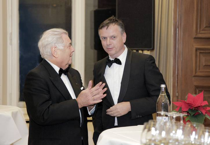 """""""He is one of the most remarkable and best known personalities of the cruise industry with an unmatched footprint set. An honorable merchant departs""""    Michael Thamm (right) CEO Costa Crociere, said at Jochen Deerberg's  (left) Farewell Dinner, December 12, 2015, at Oldenburg Castle. (Photos: Elke Röbken)"""