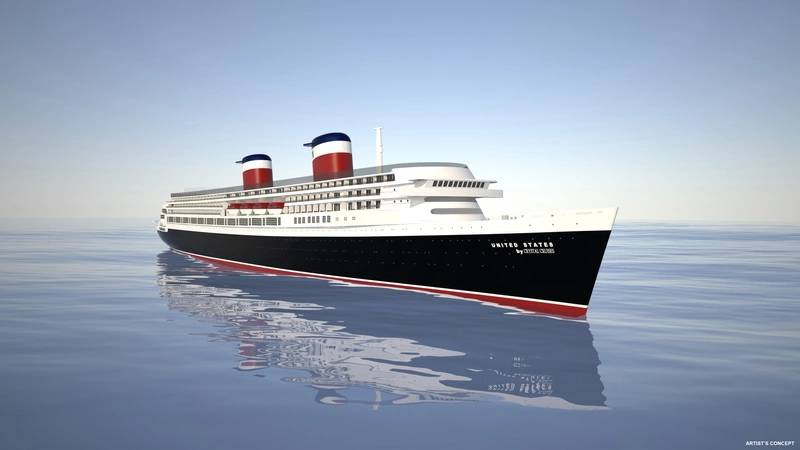 Rendering of the restored SS United States by Crystal Cruises. (Image: Crystal Cruises)