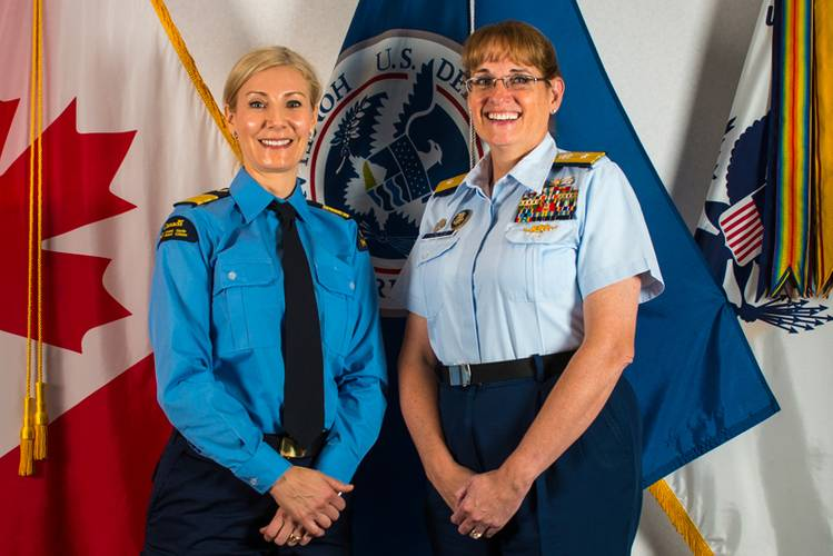 Julie Gascon, Assistant Commissioner of the Canadian Coast Guard's Central and Arctic Region and Rear Adm. June Ryan, the commander of the USCG 9th District met with their employees aboard Coast Guard ships and a CCG helicopter in Sault Ste. Marie Ontario and Sault Ste. Marie Michigan March 21 2016. (Photo credit: USCG)
