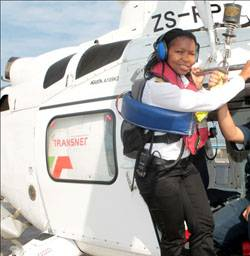 Pinky Zungu, the marine pilot who guided the MSC Chicago into Durban. She recently made history with two others to become one of Africa's first black, female marine pilots with an open licence allowing her to navigate vessels of any size and type into South African waters. [Photo by Terry Haywood]