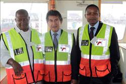 [L to R] Transnet National Ports Authority Chief Executive Tau Morwe, MSC's South African Board Chairman Captain Salvatore Sarno and Transnet Port Terminals Chief Executive Karl Socikwa. [Photo by Terry Haywood]