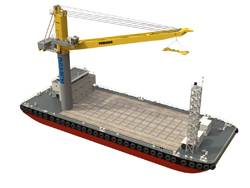 Damen's newly designed crane barge is called the CBa 6324.