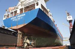Ocean Charger in dock at ASRY this Jan for emergency stern seal repairs.