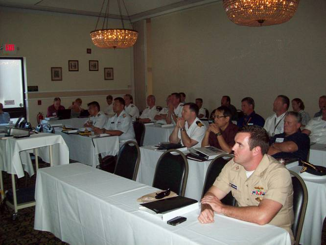 Representatives from the navies of Canada, Thailand, U.S. and Sweden attended the 2012 Sea Giraffe Users Group, held Aug. 13-16 in San Diego.  (Photo by Papola Kani, Consulate of Sweden, San Diego)
